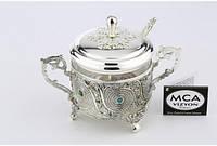 Декоративная сахарница MCA Vizyon из мельхиора с посеребрением и бирюзой, фото 1