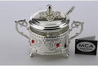 Декоративна цукорниця MCA Vizyon з мельхіору з посріблені і гранатом, фото 1