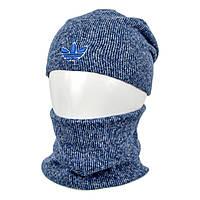 Комплект шапка+баф adidas SP1902 джинс, фото 1