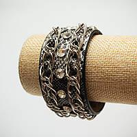 Браслет змея питон серый в цепях заклепках на 4х кнопках