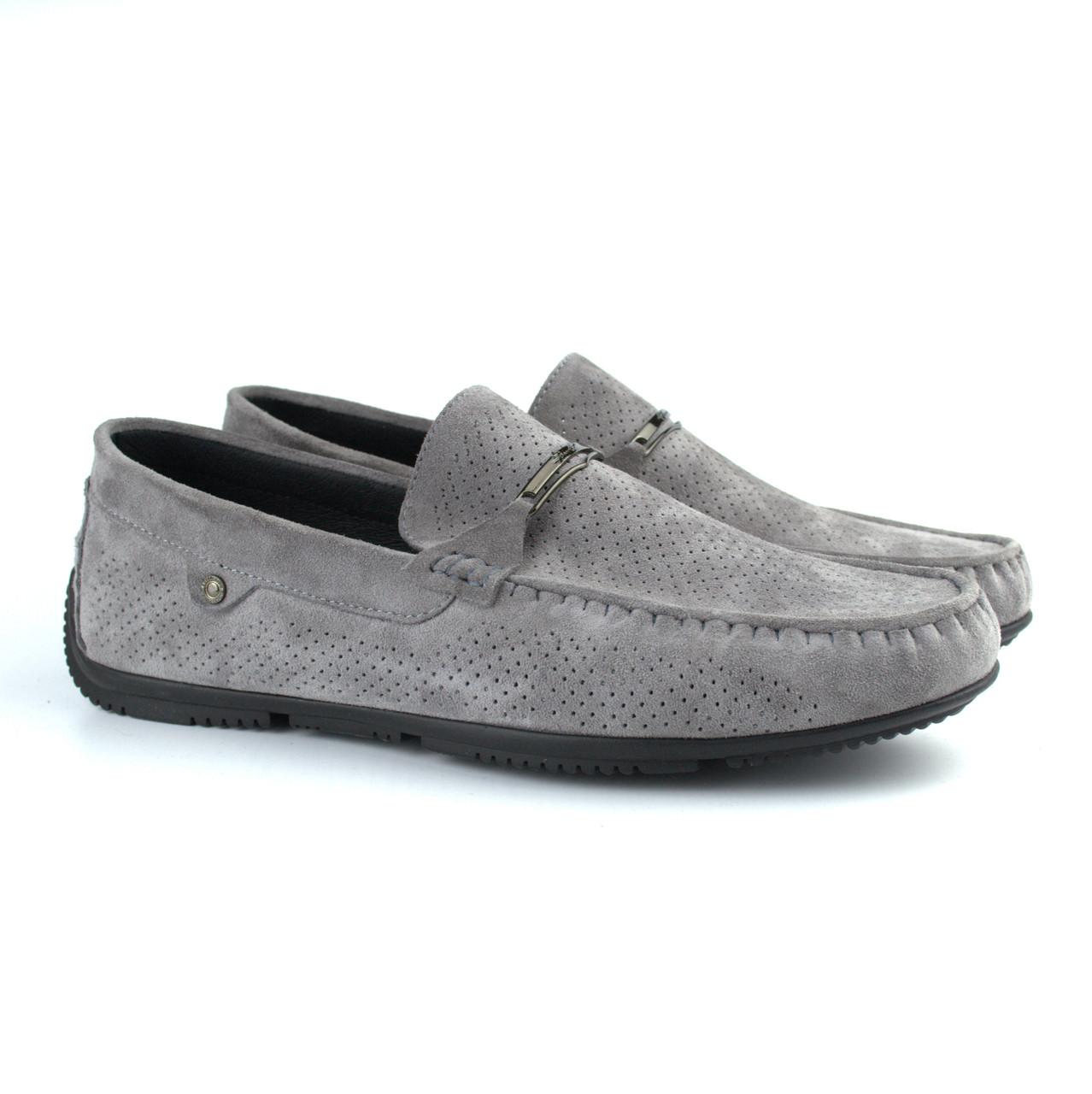 Летние мокасины замшевые серые с перфорацией мужская обувь больших размеров Rosso Avangard Platinum Vel BS