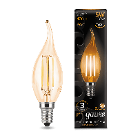 Лампа Gauss LED Filament Candle tailed E14 5W 2700K Golden