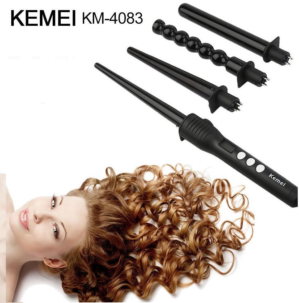 Стайлер Kemei Km 4083 4 в 1 профессиональная спиральная плойка со сменными насадками для завивки волос Кемей