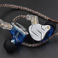 Дротові навушники KZ ZSN PRO Mic двухдрайверные гібридні Original Блакитний