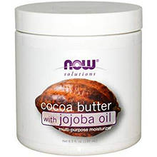 NOW Foods Масло какао и Жожоба Solutions Cocoa Butter With Jojoba Oil, 192 ml