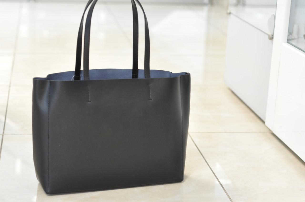 Большая кожаная сумка-шоппер черная 8955