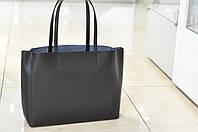 Большая кожаная сумка-шоппер черная 8955, фото 1