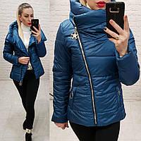 Куртка весна-осень с капюшоном, арт 501, цвет синий джинс