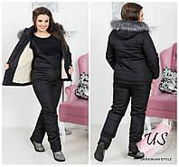 Женский батальный черный зимний  костюм-комбинезон.