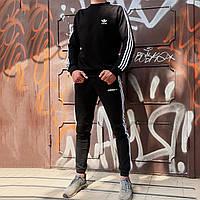 Комплект в стиле Adidas Three line черный (штаны, свитшот)
