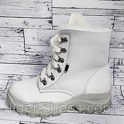 Зимние женские ботинки белого цвета