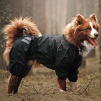 Одежда для собак. Водонепроницаемый  дождевик без подкладки для крупных и средних пород.  HUNTER, black
