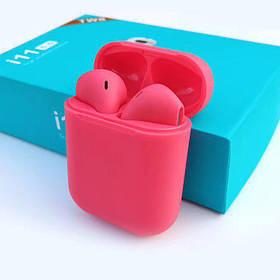 Сенсорные Беспроводные наушники HBQ I11 TWS Bluetooth высокого качества 1 в 1 с AirPod Apple Красного цвета