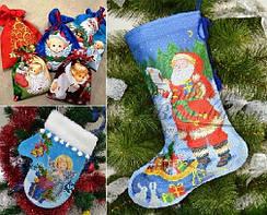 Новорічні чобітки, подарункові мішечки, рукавички для вишивки
