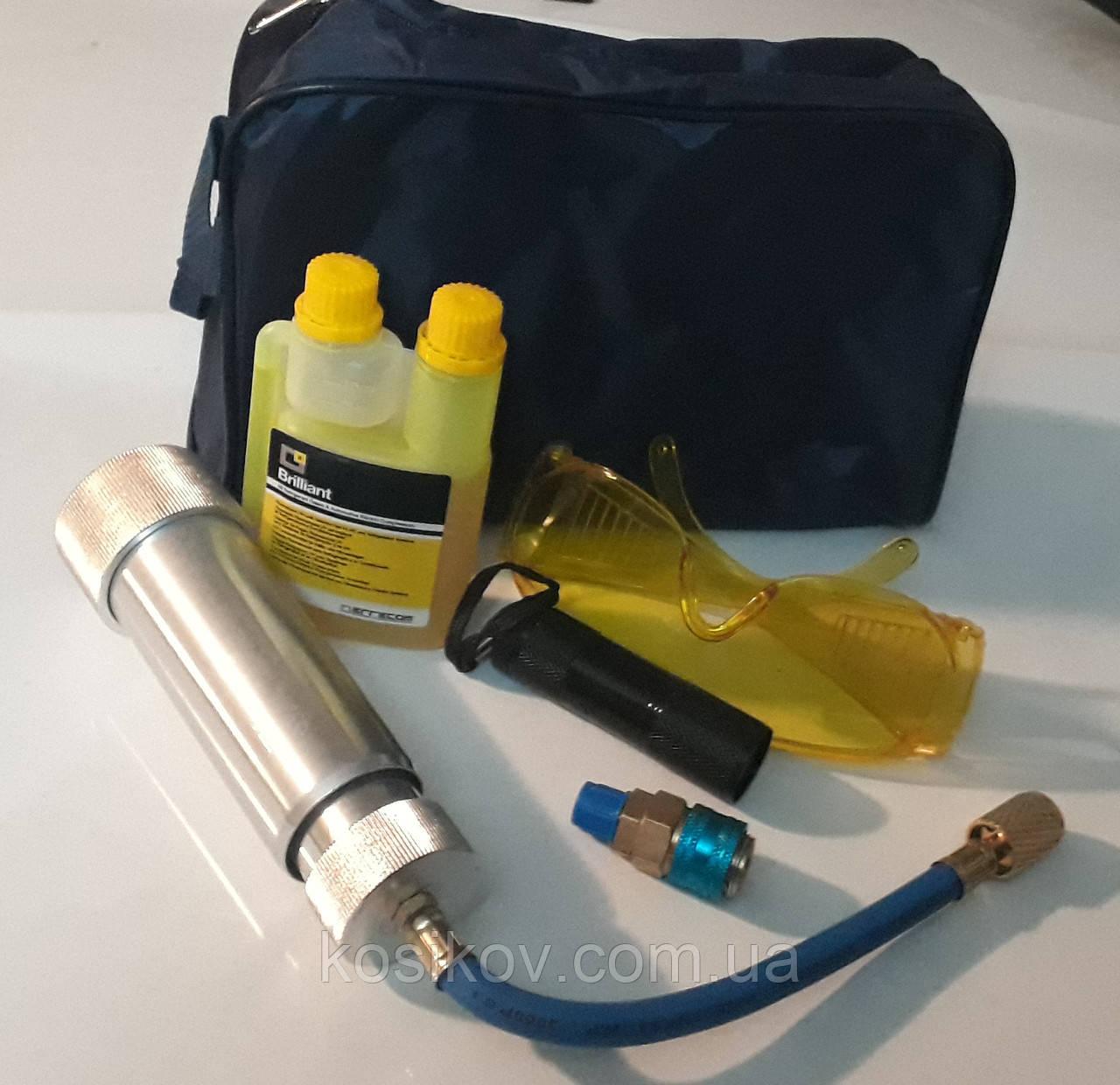 Набір для пошуку витоку фреону зі шприц-інжектором 60мл + 100 мл у/ф фарби
