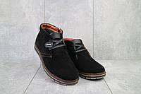 Ботинки мужские Yuves 771 черные (замша, зима)