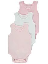 Боди-майки розовые и белые для девочек 12-18-24 мес. George (Англия)