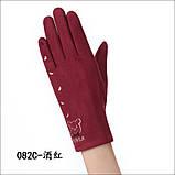 Замш с сенсором качество женские перчатки для работы на телефоне плоншете стильные только оптом, фото 5