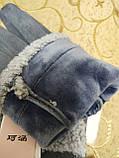 Замш с сенсором качество женские перчатки для работы на телефоне плоншете стильные только оптом, фото 9