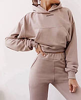 Женский утепленный спортивный костюм с укороченным худи 7105766