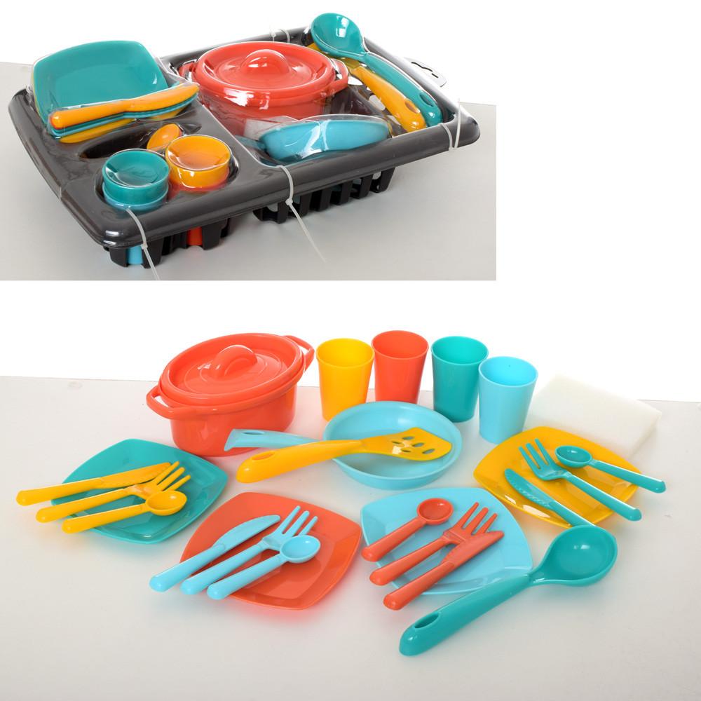 Посуда, сковородка, кастрюля, тарелки, столовые приборы, лоток, 2 цвета, 13448