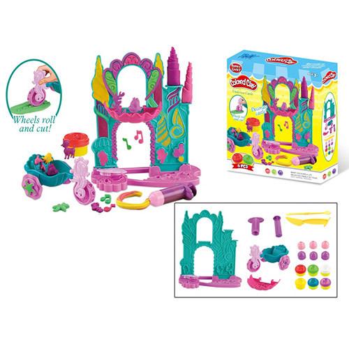 """Пластилин """"Замок"""", 6 цветов (баночка с крышкой), формочки, инструменты, MK3875"""