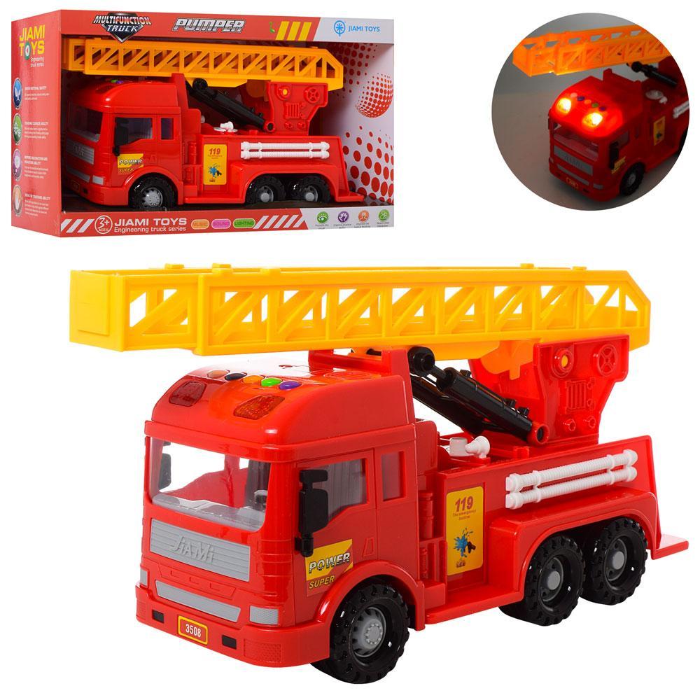 Пожарная машина инерционная, музыка, звук, свет, подвижные детали, 3508