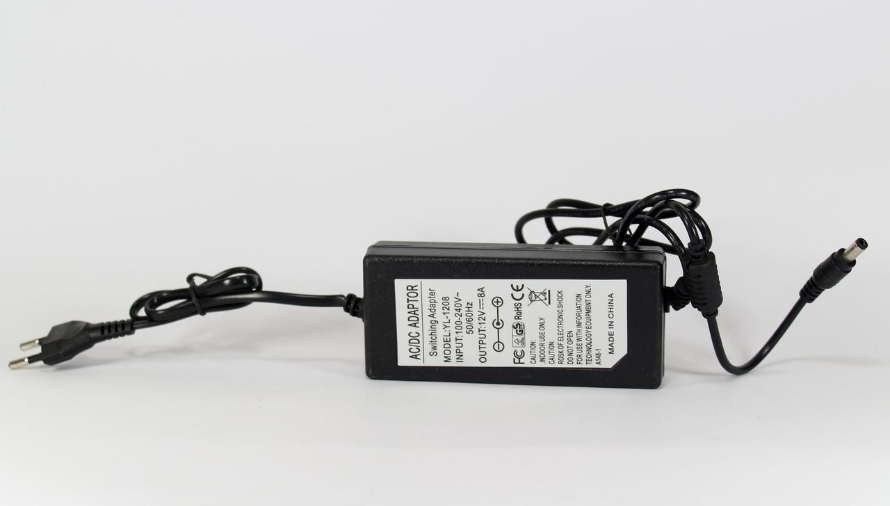 Адаптер 12V 8A (разъём 5.5*2.5mm) Пластик (100) в уп. 100шт.