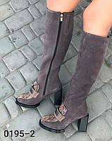 Женские сапоги из натуральной замши и натуральной кожи на средней высоты каблуке