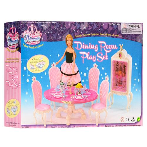 """Меблі для ляльок """"Глорія"""", їдальня, стіл, стільці, посуд, сервант, 1212"""