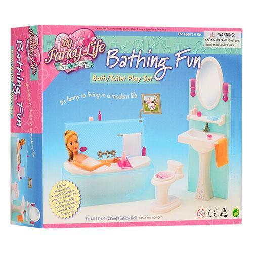 "Мебель для кукол ""Глория"", ванная комната, ванна, умывальник, унитаз, аксессуары, 2820"