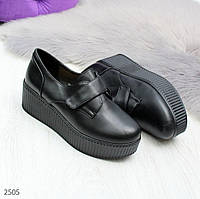 Женские черные туфли на липучке