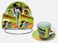 Набор: 2 чашки + 2 блюдца на железной подставке BonaDi BC25P