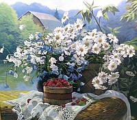 Картины художников. Живопись маслом на холсте Натюрморт с Ромашками и малиной