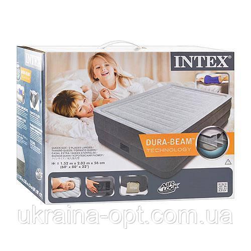 Надувная кровать. Размер 203/152/56 см. Нагрузка 273 гк. Электронасос. Intex 64418. Двухспальная