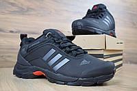 Мужские зимние кроссовки в стиле Adidas Climaproof низкие чёрные серые полоски, фото 1