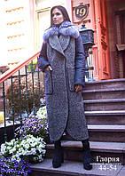 Зимние женское комбинированное пальто с мехом чернобурки.
