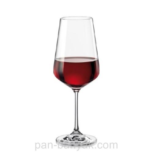 Набір келихів для вина Bohemia Sandra 6 штук 450мл d6 см h24 см богемське скло (40728/450)