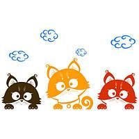 Виниловая наклейка Детская на стену Три котенка
