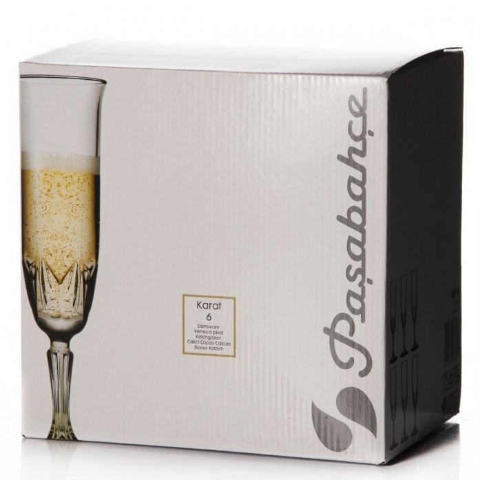 Набор бокалов для шампанского Pasabahce Karat  6 штук 163мл d6 см h20,6 см стекло (440146)