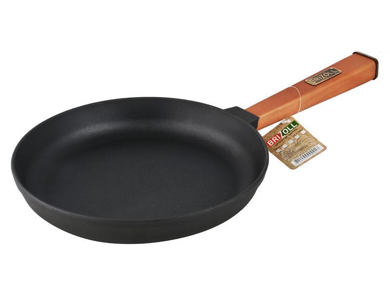 Сковорода Brizoll Оптима с деревяной ручкой d20 см h3,5 см чугун (02035-Р)