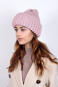 Пудровая шапка вязанная