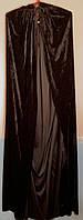 Плащ бархатный длинный черный с капюшоном длина 140 см Хэллоуин Halloween
