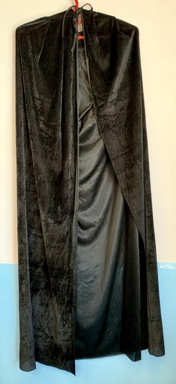 Плащ бархатный черный с капюшоном 120 см