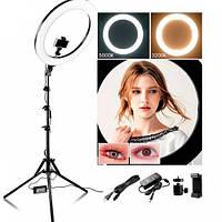 SalonHome Профессиональная кольцевая лампа MakeUp RL-12 с штатив-треногой для косметологии