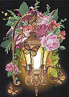 Схема вишивкі бісером на габардині Ліхтар в квітах