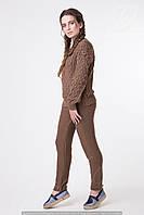 Вязаный костюм женский брючный трикотажный МИЛАН коричневый