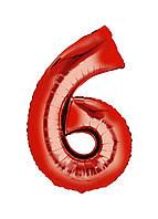 """Воздушный шар цифра """"6"""" Special Occasion 100см Красный"""