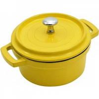 Мини-кокотница с крышкой желтая 250мл d10 см h5 см литой алюминий Maestro
