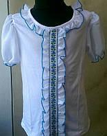 Вышиванка. Трикотажная школьная блузка для девочек.